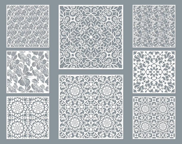 Laser cut decorative panel set with lace pattern, square ornamental templates collection for die cutting or wood carving, element for wedding invitation card. Cabinet screen. Laser cut decorative panel set with lace pattern, square ornamental templates collection for die cutting or wood carving, element for wedding invitation card. Cabinet screen. decorative laser cut set stock illustrations