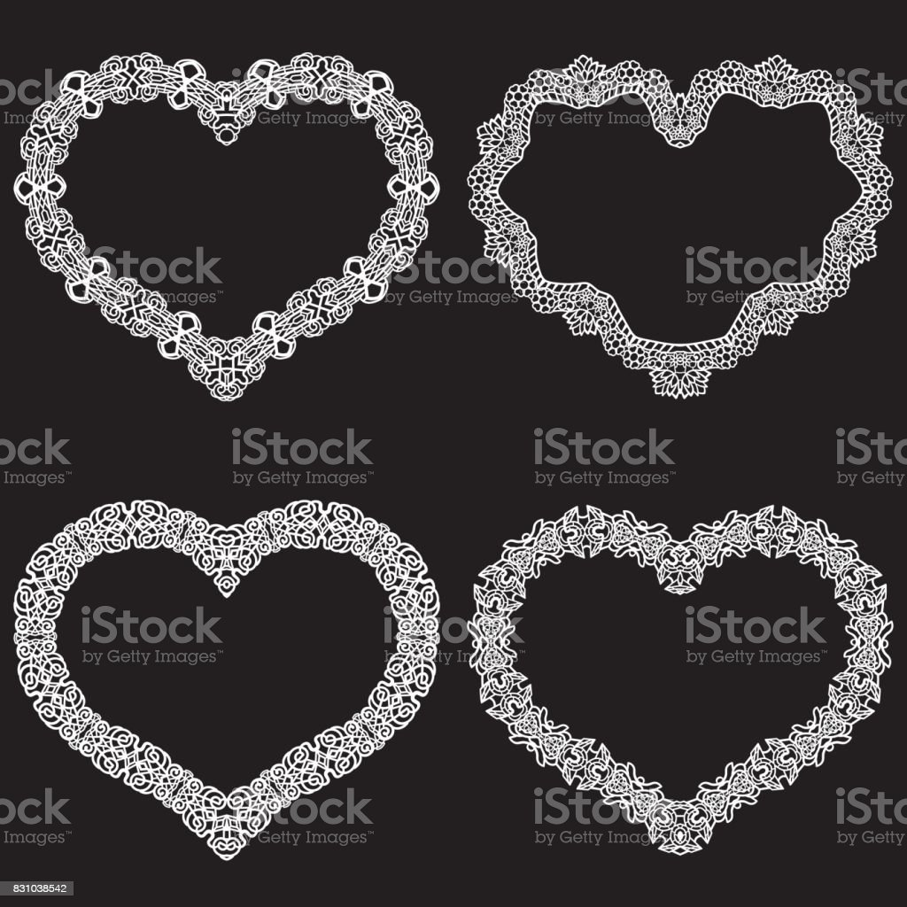 Laser Cut Frame In The Shape Of A Heart With Lace Border A Set Of
