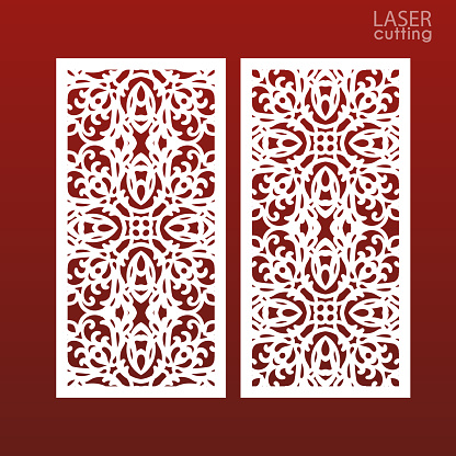 Laser cut ornamental panel templates with pattern. May be use for die cutting. Lazer cut card. Template for wedding invitation. Cabinet fretwork screen. Lasercut metal panel. Wood carving.