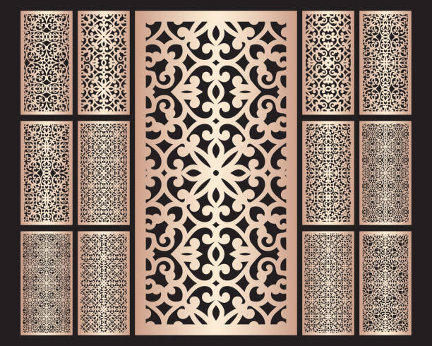 Laser cut ornamental panels set with pattern, template for cutting. Ratio 1:2. Wedding invitation or greeting card template. Cabinet fretwork screen. Metal design, wood carving. Laser cut ornamental panels set with pattern, template for cutting. Ratio 1:2. Wedding invitation or greeting card template. Cabinet fretwork screen. Metal design, wood carving. decorative laser cut set stock illustrations