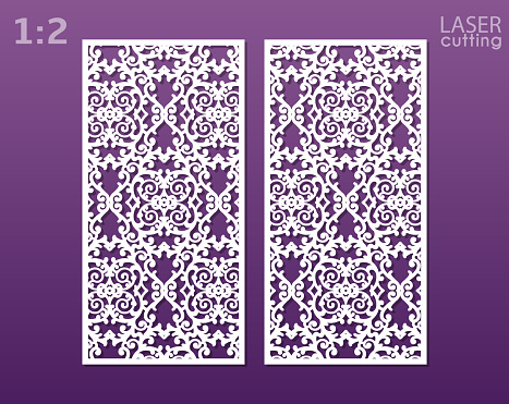 Laser cut ornamental panels with pattern. May be use for die cutting. Template of wedding invitation or greeting card. Cabinet fretwork panel. Lasercut metal panel. Wood carving. Vector.