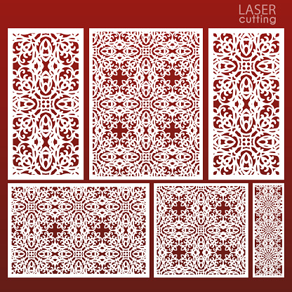 Laser cut ornamental set panel templates with pattern. May be use for die cutting. Lazer cut card. Template for wedding invitation. Cabinet fretwork screen. Lasercut metal panel. Wood carving.