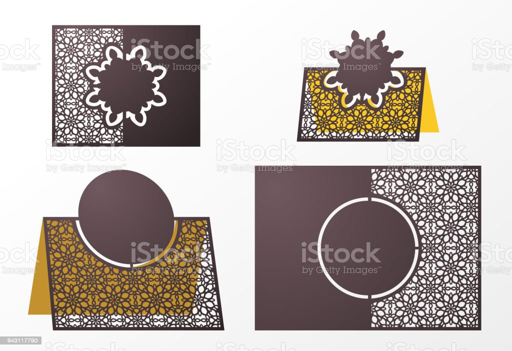 Laser Cut Ornamental Vector Template Freestanding Table Number Name ...