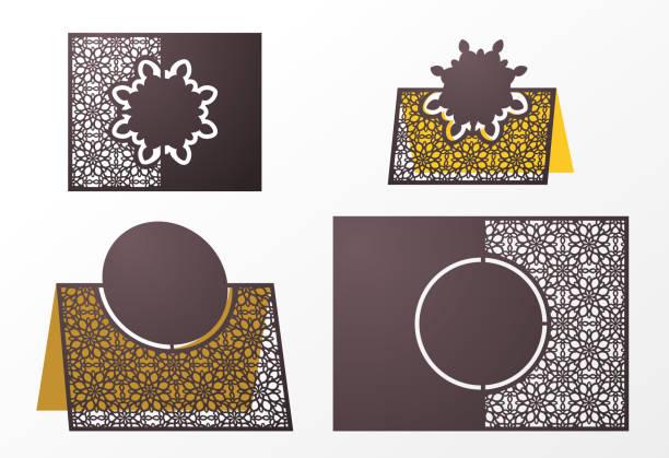 lasergeschnittenes ornamentalen vektor vorlage. freistehender tisch nummer, name, tischkarte hochzeit sitze, tische karte gäste, tabelle oder escort-karte. freisteller papierkarte für laser schneiden oder würfel schneiden-vorlage. ideal für präsentationen, hochzeiten, hochzeit ein - stanzen stock-grafiken, -clipart, -cartoons und -symbole