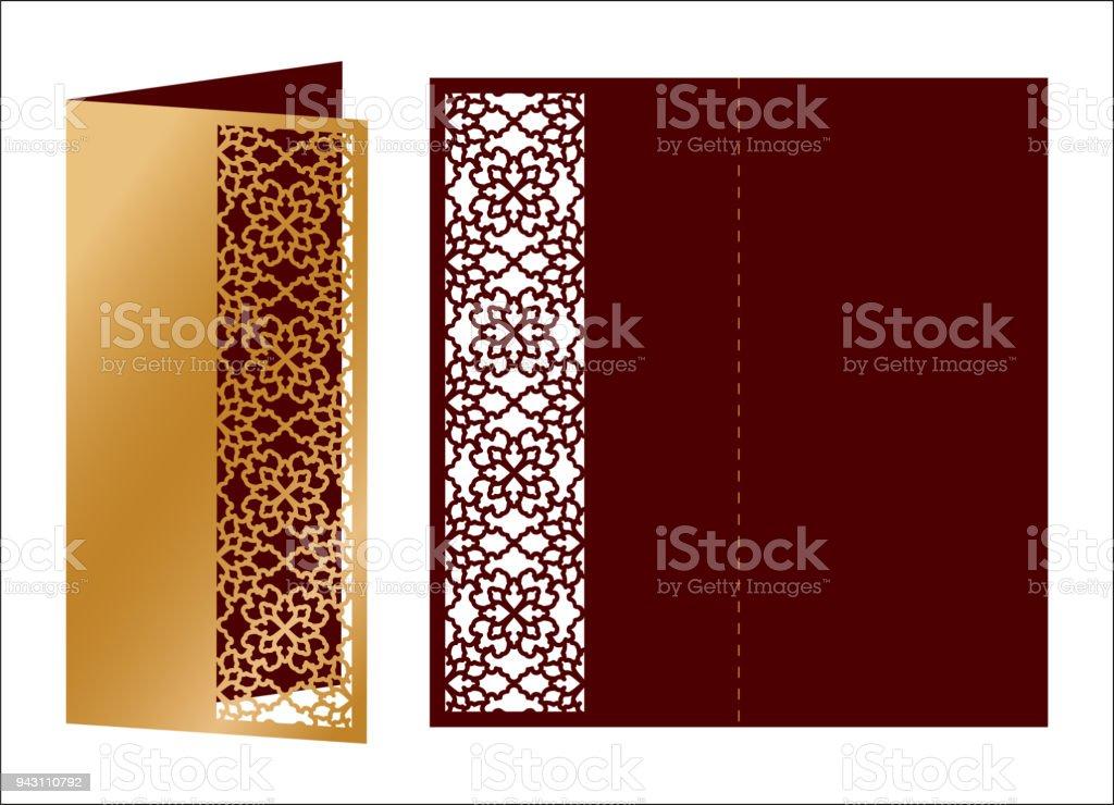Toll Lasergeschnittenes Ornamentalen Vektor Vorlage. Luxus Grußkarte, Umschlag  Oder Hochzeit Einladung Kartenvorlage. Die