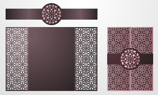 Laser cut ornamental vector template. Luxury Greeting card, envelope or wedding invitation card template, belly band with mandala. Die cut paper gate fold card with openwork ornament. Cut Out paper card for laser cutting or die cutting template. Vintage O