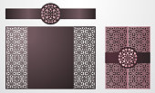 Laser cut ornamental vector template. Luxury Greeting card, envelope or wedding invitation card template. Die cut paper gate fold card with openwork ornament. Cut Out paper card for laser cutting