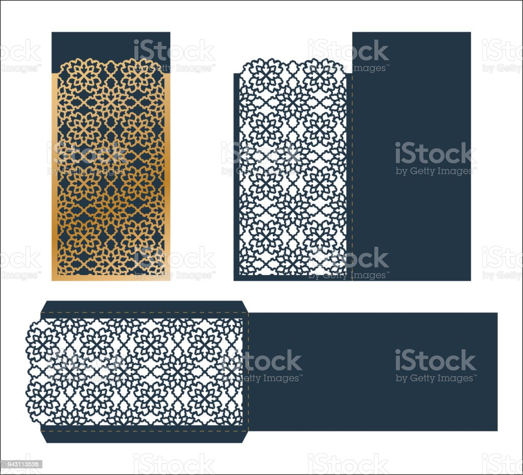 Laser cut ornamental vector template luxury greeting card envelope laser cut ornamental vector template luxury greeting card envelope or wedding invitation card template stopboris Images