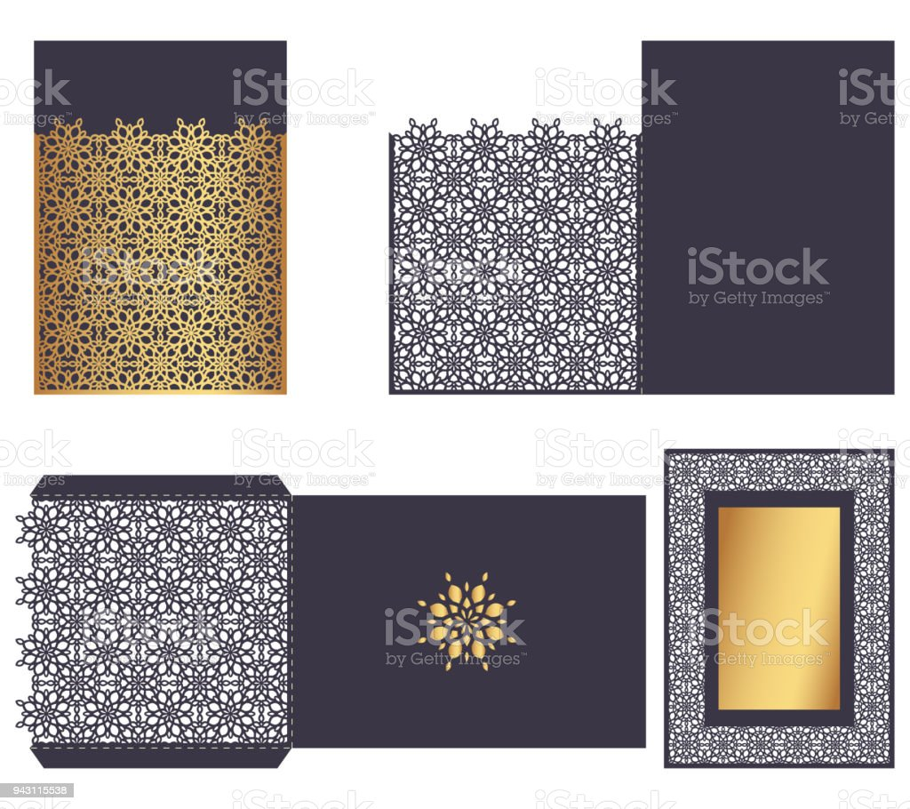 Laser Cut Ornamental Vector Template Luxury Greeting Card Envelope