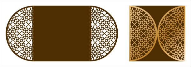 lasergeschnittenes ornamentalen vektor vorlage. luxus-grußkarte, umschlag oder hochzeit einladung kartenvorlage. die schneiden papier tor gefaltete karte mit durchbrochenen ornament. freisteller papierkarte für laser schneiden oder würfel schneiden-vorlage. ornamentale verzierung für einzureichen - stanzen stock-grafiken, -clipart, -cartoons und -symbole