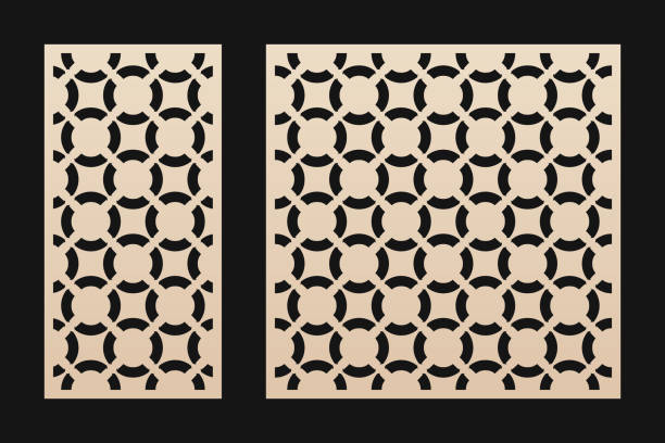 Laser cut panel. Elegant vector template with abstract geometric pattern Laser cut panel. Elegant vector template with abstract geometric pattern, circular grid ornament. Decorative stencil for laser cutting of wood, paper, metal, engraving, carving. Aspect ratio 1:2, 1:1 decorative laser cut set stock illustrations