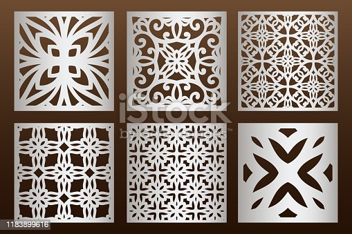 Laser cut panel set in arabic style, cabinet fretwork perforated screen templates . Ornamental panels template set for cutting exterior. Silhouette geometric pattern. Metal, paper or wood carving.
