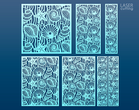 Laser cut panel template set with pattern of seashells and stars. Ratio 1:1, 1:2, 1:4, 2:3, 3:4. Decorative elements for interior design in marine style.