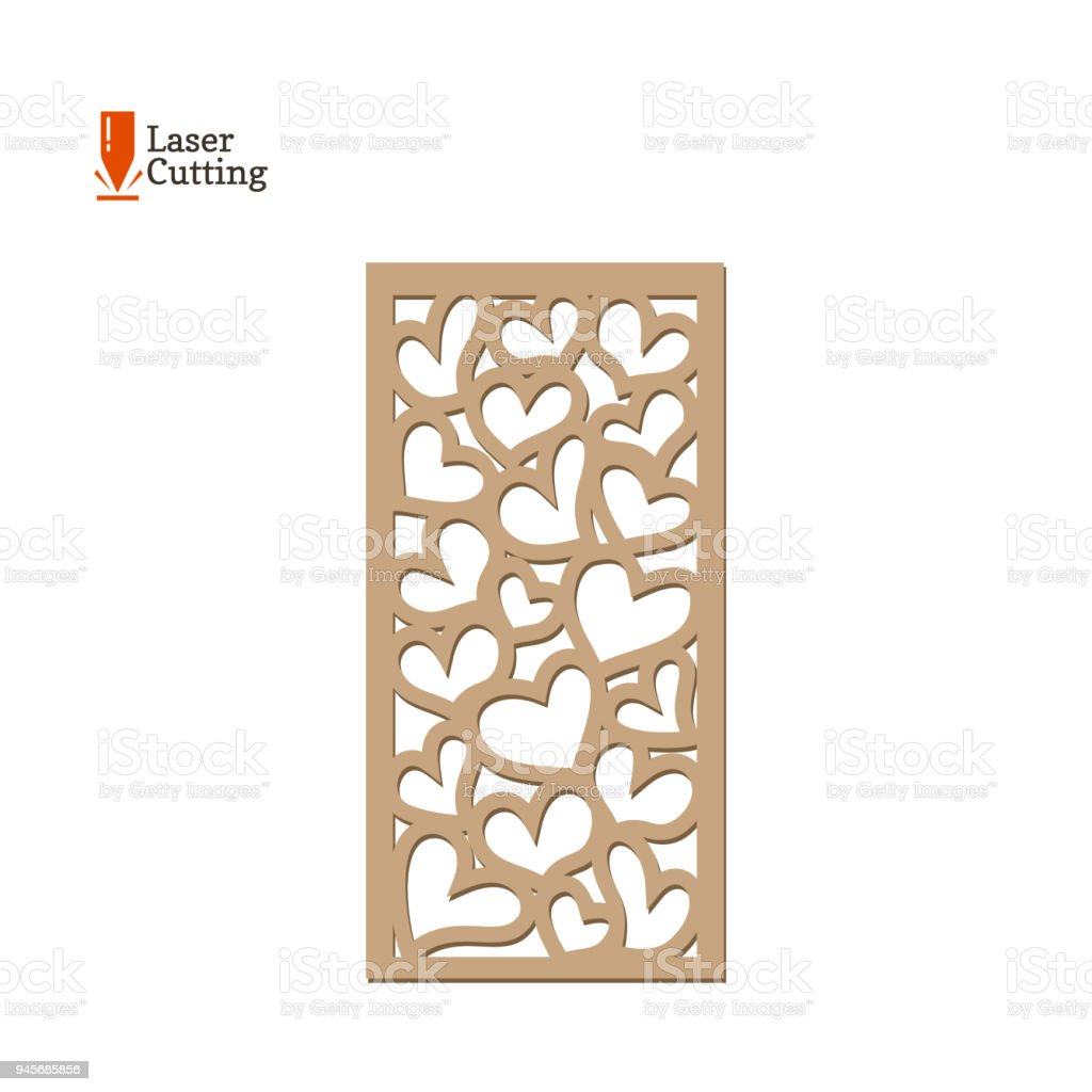 Laser Cut Panel Vector Frame Template With Hearts For Cut On Laser ...