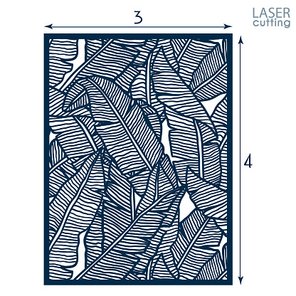 Laser cut panel with floral pattern of banana leaves, template for laser cutting or wood carving, cutout paper decorative element, elegant tropical background for wedding invitation, vector.