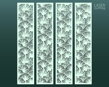 Laser cut panel with floral pattern of ginkgo leaves, template for laser cutting or wood carving, cutout paper decorative element, elegant tropical background for wedding invitation, vector.