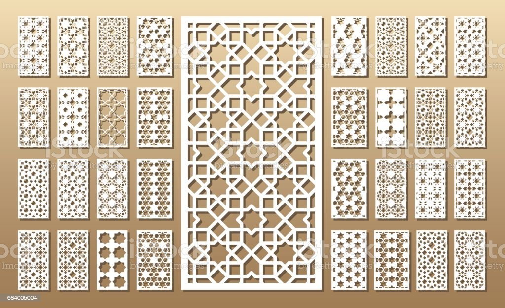 Laser cut panels vector art illustration