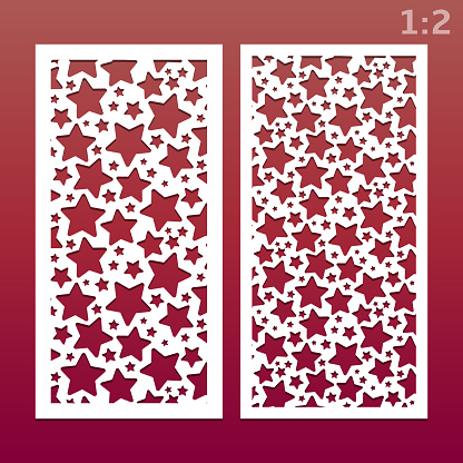 Laser cut panels with pattern of stars, templates for wood carving, cutout paper decorative element, background for wedding invitation card. Ratio 1:2, vector eps 10.