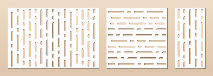 Laser cut pattern set. Abstract geometric texture with lines. Vector template