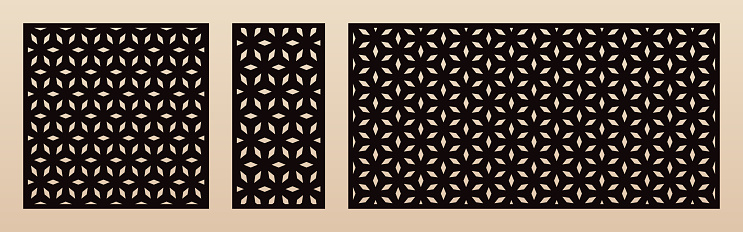 Laser cut pattern set. Vector template with geometric texture, floral grid