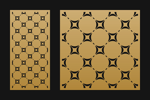 Laser cut pattern. Vector template with geometric ornament, floral grid, net