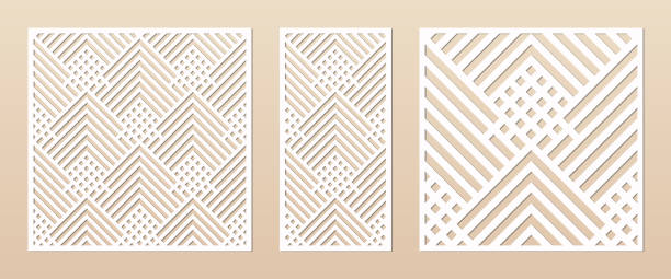 Laser cut template. Elegant vector panel with abstract geometric grid pattern Laser cut panel. Abstract geometric pattern with lines, rhombuses, squares. Elegant decorative template for wood cut, paper card, metal cutting, engraving, fretwork, carving. Aspect ratio 1:1, 1:2 decorative laser cut set stock illustrations