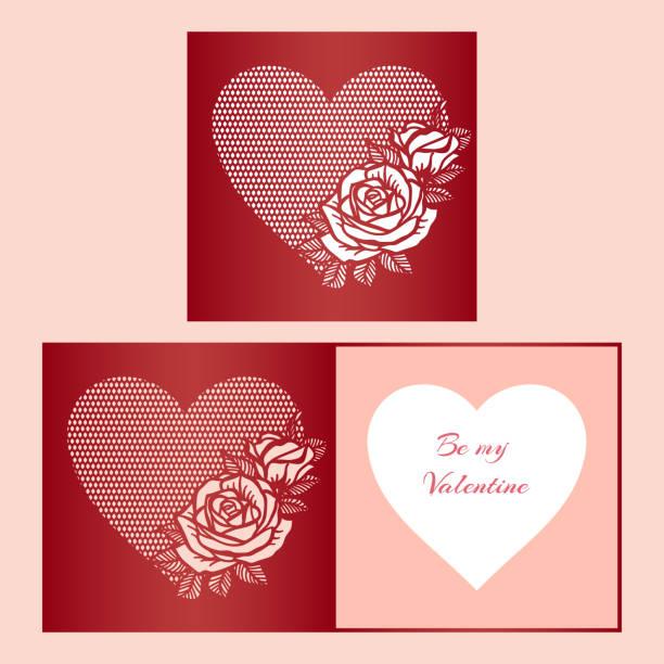 laser geschnitten vorlage der falte karte mit rosen gemustert herz für broschüren, hochzeitseinladungen oder valentinstag grußkarte. - laservorlagen stock-grafiken, -clipart, -cartoons und -symbole