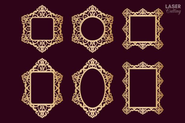 Laser cut vector frame collection, vector ornament, vintage frame set. Photo frames with lace border for paper cutting. Laser cut vector frame collection, vector ornament, vintage frame set. Photo frames with lace border for paper cutting. decorative laser cut set stock illustrations