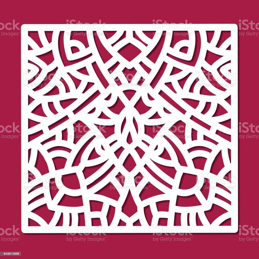 laser cut vector ornament square panel cutout pattern silhouette