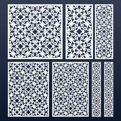 Laser cut vector panels set with lace pattern. May be used for paper cutting. Cutout silhouette stencil pattern. Different sizes and shapes: 1:1, 1:2, 2:3, 3:4, 1:3, for easy design.