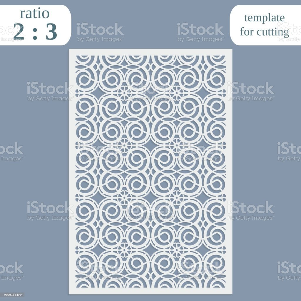 Laser cut wedding card template, paper openwork greeting card, template for cutting, lace invitation, lasercut metal panel, wood carving, vector illustration laser cut wedding card template paper openwork greeting card template for cutting lace invitation lasercut metal panel wood carving vector illustration - arte vetorial de stock e mais imagens de abstrato royalty-free