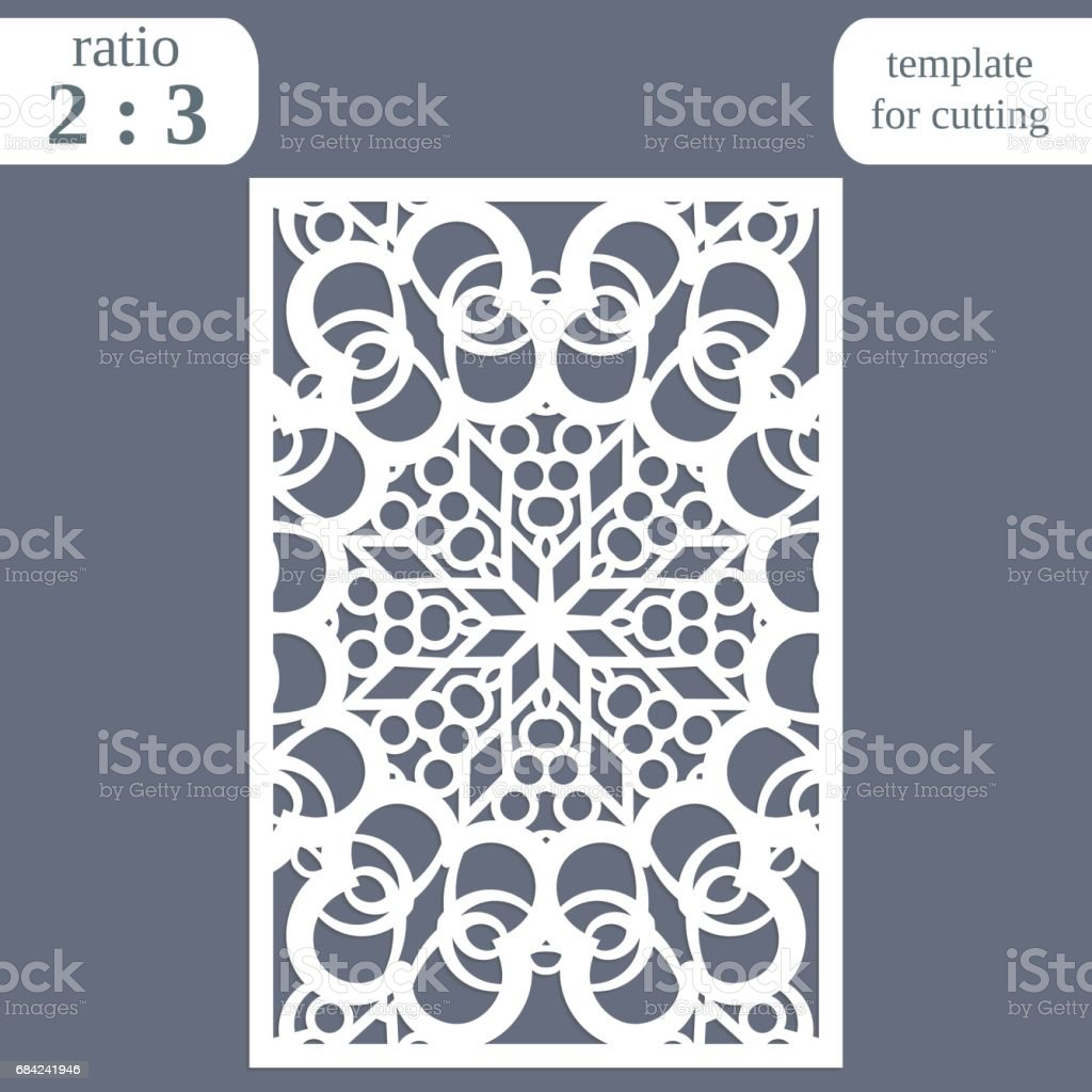 Laser cut wedding card template, paper openwork greeting card, template for cutting, lace invitation, lasercut metal panel,  vector illustration royalty-free laser cut wedding card template paper openwork greeting card template for cutting lace invitation lasercut metal panel vector illustration stock vector art & more images of abstract
