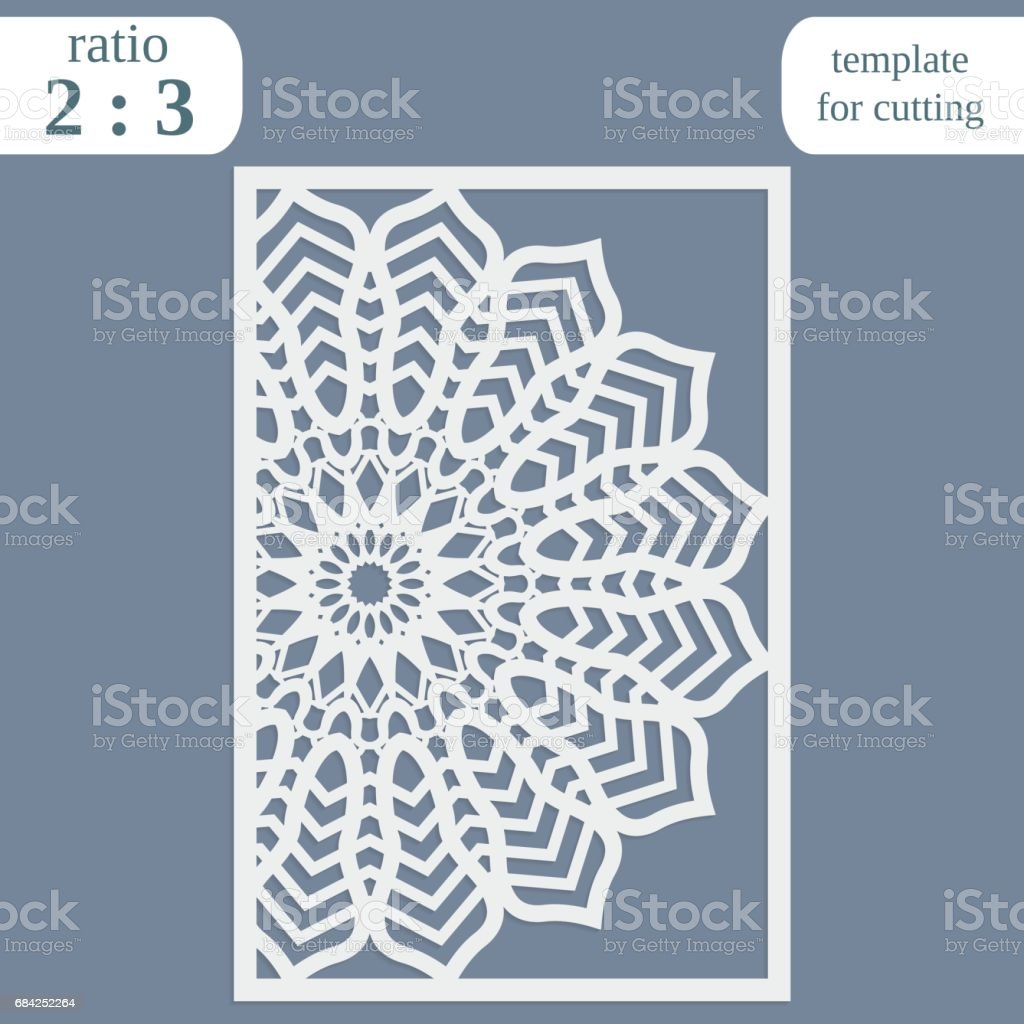 Laser cut wedding card template, paper openwork greeting card, template for cutting, lace invitation, lasercut metal panel, wood carving, greetings for Christmas or New Year  vector illustration royalty-free laser cut wedding card template paper openwork greeting card template for cutting lace invitation lasercut metal panel wood carving greetings for christmas or new year vector illustration stock vector art & more images of abstract