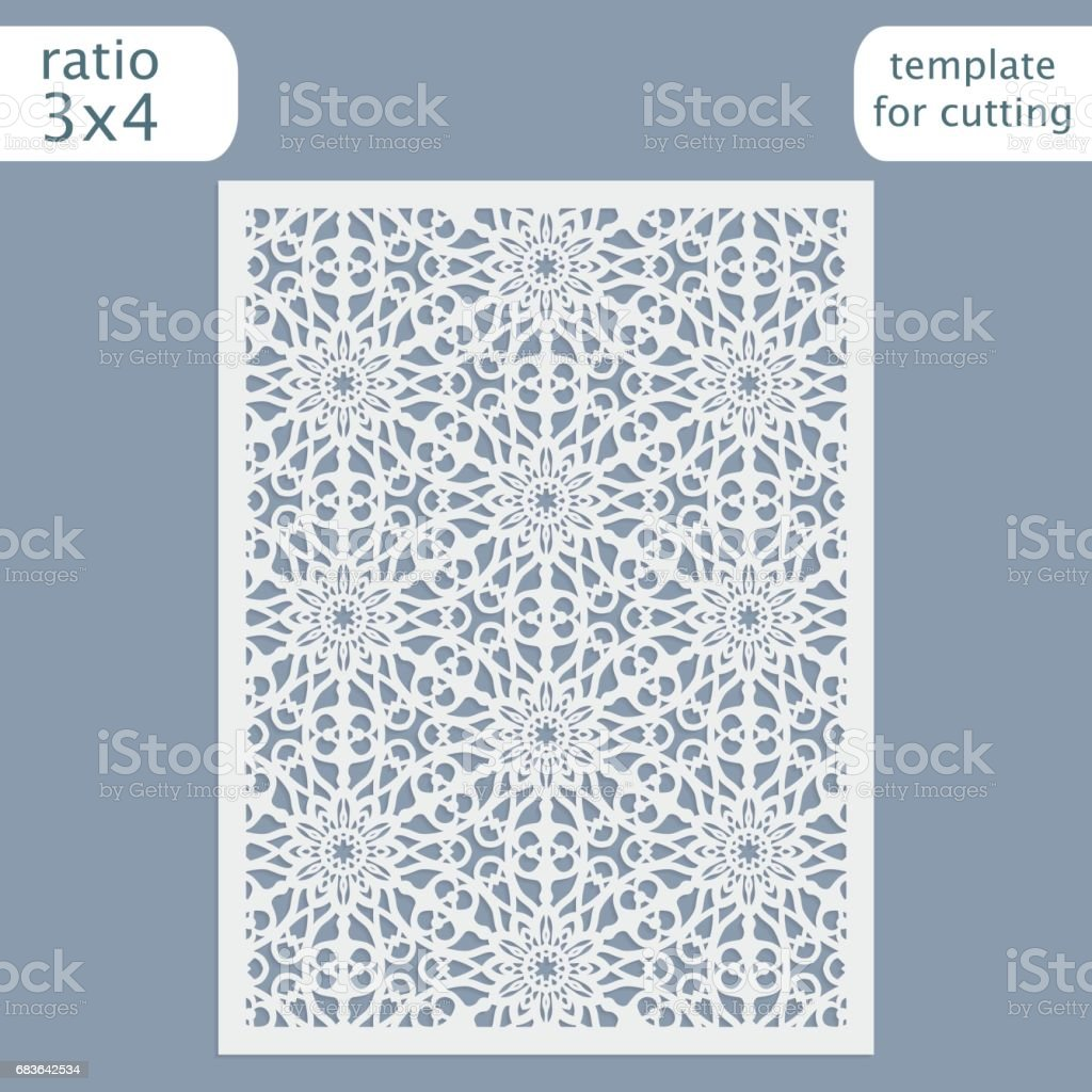 Laser cut wedding invitation card template. Cut out the paper card...