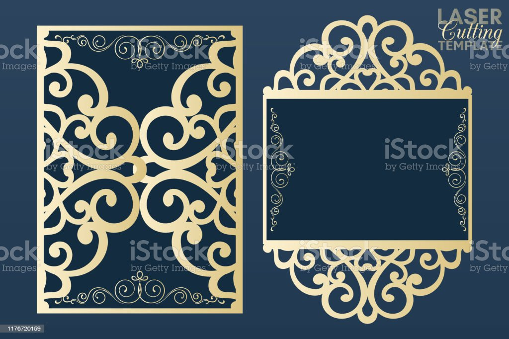 Laser Cut Wedding Invitation Card Template Vector Cutout