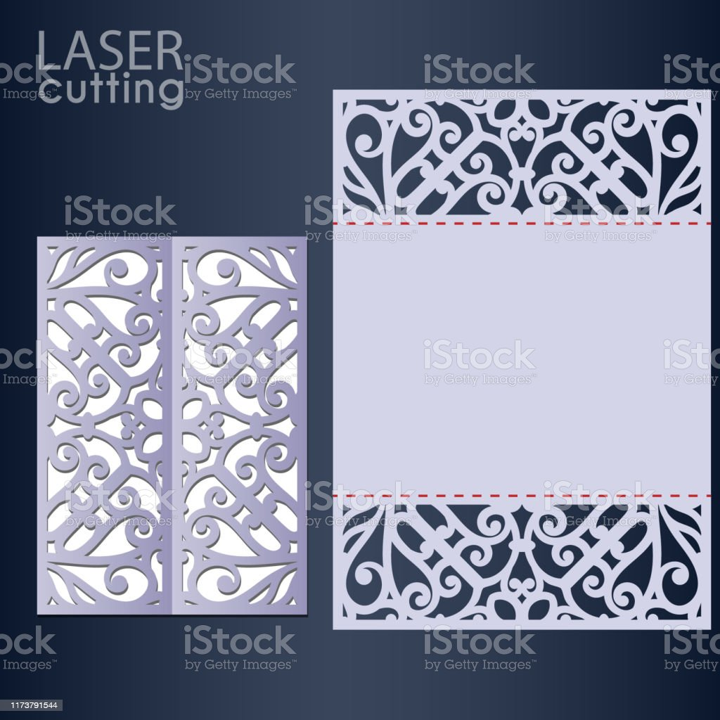 Laser Cut Wedding Invitation Card Template Vector Die Cut Paper Card With Lace Pattern Cutout Paper Gate Fold Card For Laser Cutting Or Die Cutting