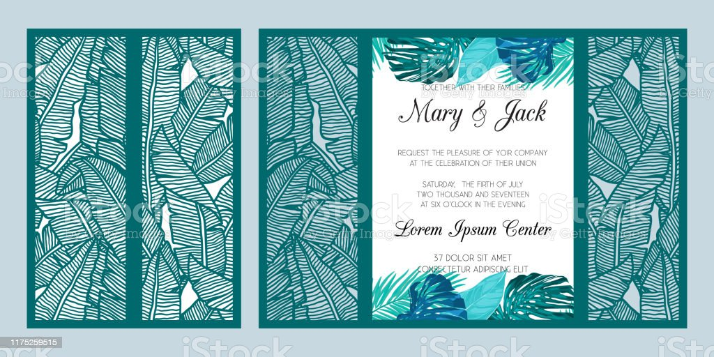 Laser Cut Wedding Invitation Card Template Vector Die Cut