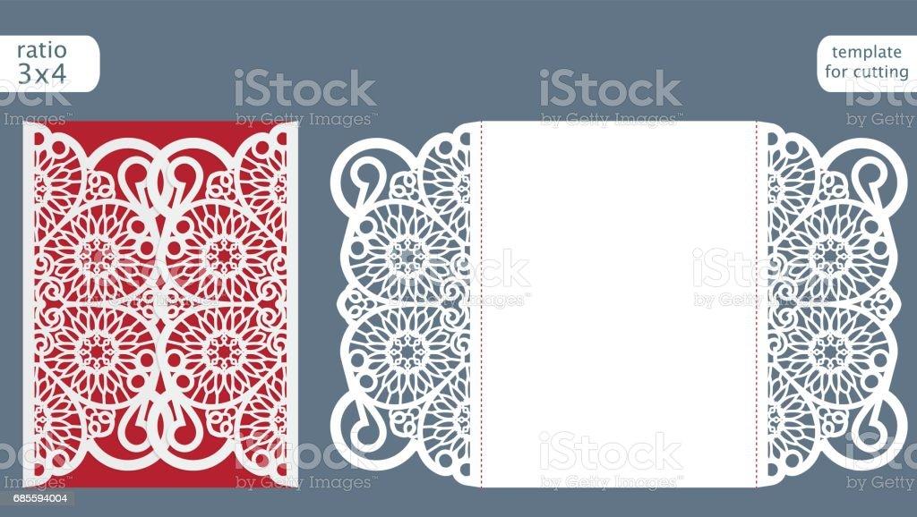 laser cut wedding invitation card template vector die cut paper card