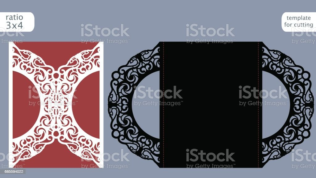 Laser cut wedding invitation card template vector. Die cut paper card with abstract pattern. Cutout paper gate fold card for laser cutting or die cutting template. Vector. royalty-free laser cut wedding invitation card template vector die cut paper card with abstract pattern cutout paper gate fold card for laser cutting or die cutting template vector 결혼식에 대한 스톡 벡터 아트 및 기타 이미지