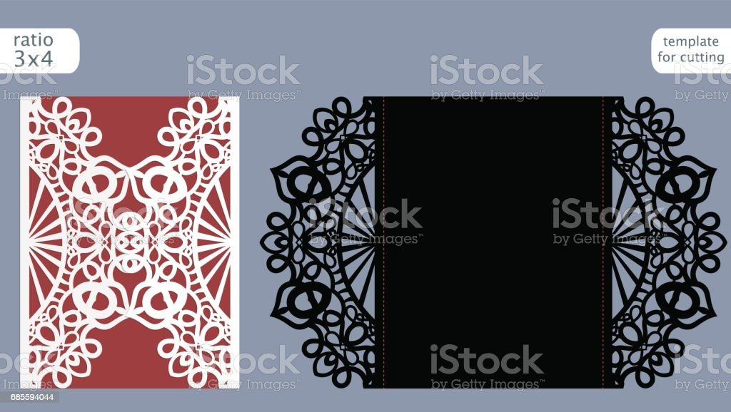 Laser Cut Wedding Invitation Card Template Vector Die Cut Paper Card With Abstract Pattern Cutout Paper Gate Fold Card For Laser Cutting Or Die