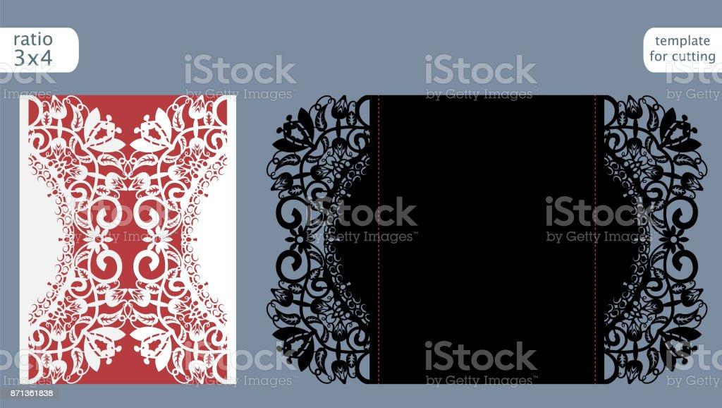 Wedding Invitation Card Paper: Laser Cut Wedding Invitation Card Template Vector Die Cut