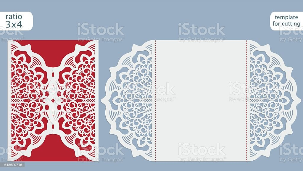 laser cut wedding invitation card template stock vector