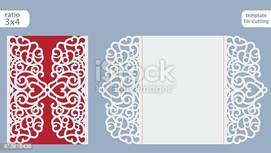 laser cut wedding invitation card template vector stock