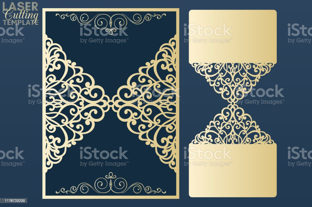 Laser Cut Wedding Invitation Card Template Vector Wedding Invitation Or Greeting Card With Belly Band Open Card Suitable For Greeting Cards