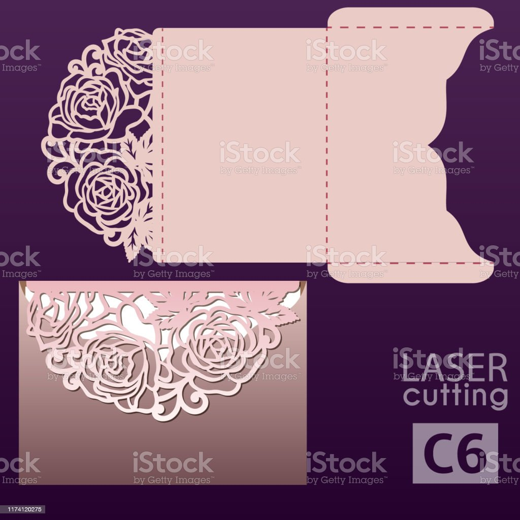 Laser Cut Wedding Invitation Card Template Vector With Roses