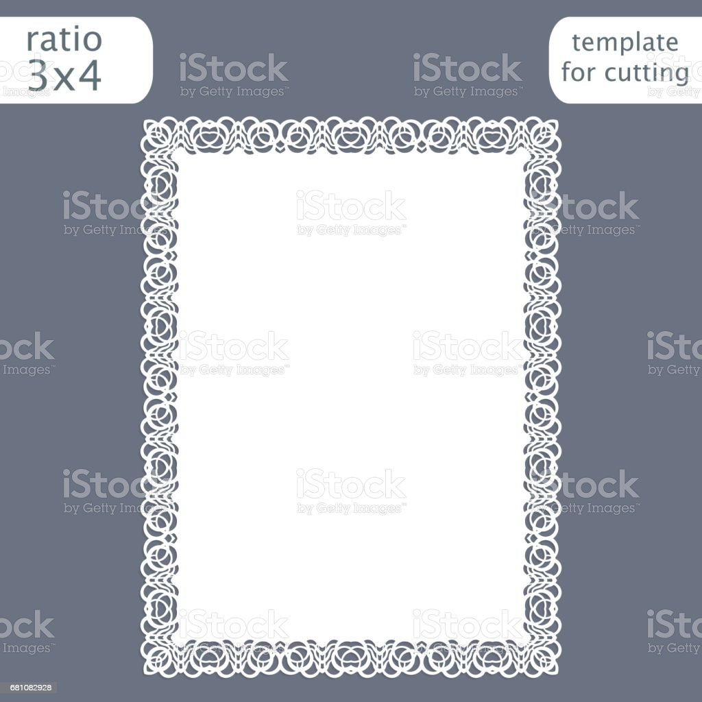 Laser cut wedding invitation card template with openwork border.  Cut out the paper card with lace pattern.  Greeting card template for cutting plotter. Vector. vector art illustration