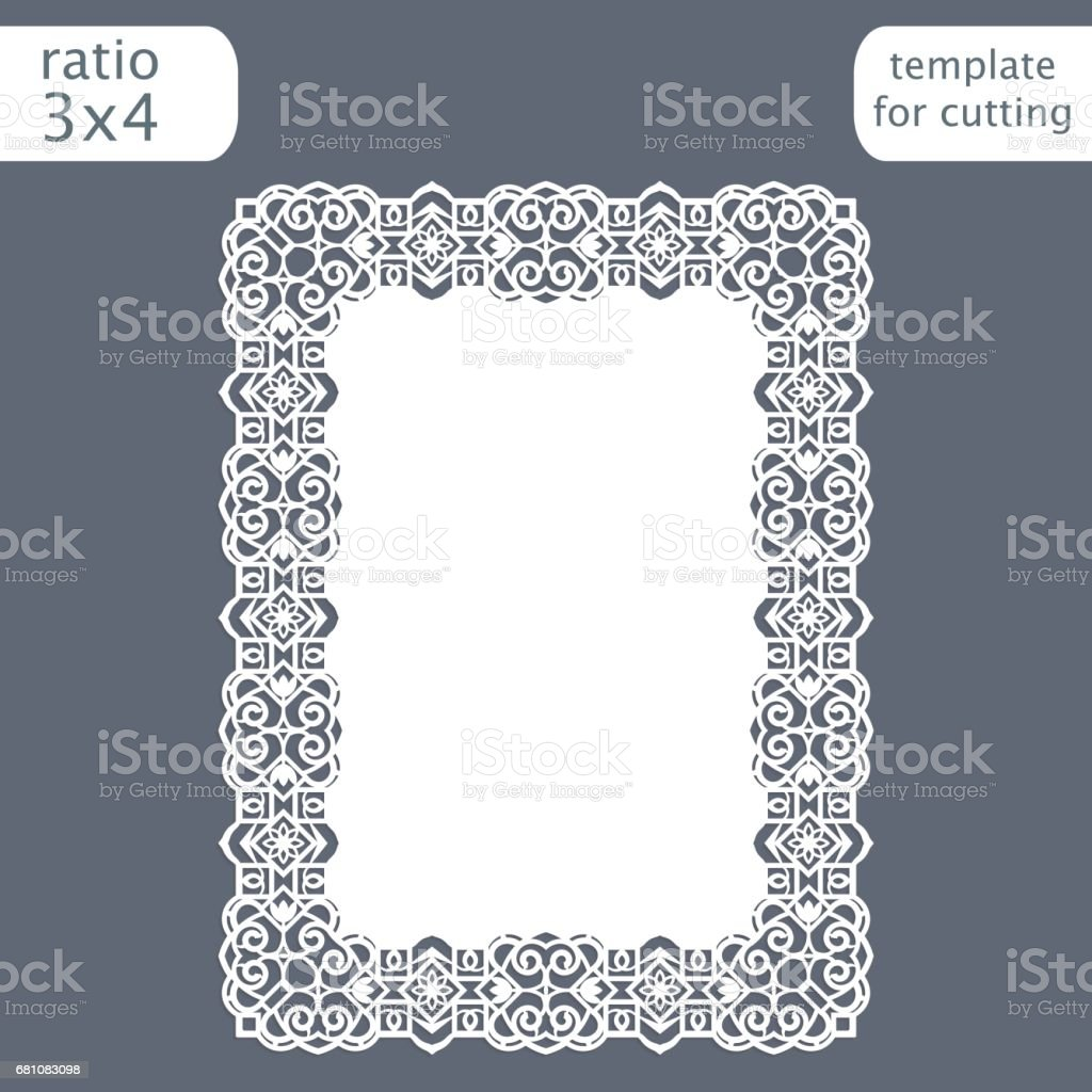 Laser cut wedding invitation card template with openwork border.  Cut out the paper card with lace pattern.  Greeting card template for cutting plotter. Vector. royalty-free laser cut wedding invitation card template with openwork border cut out the paper card with lace pattern greeting card template for cutting plotter vector stock vector art & more images of abstract