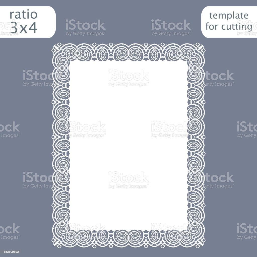 laser cut wedding invitation card template with openwork border cut