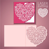 Laser cut wedding invitation or greeting card template vector with lace heart. Image suitable for laser cutting, plotter cutting or printing.