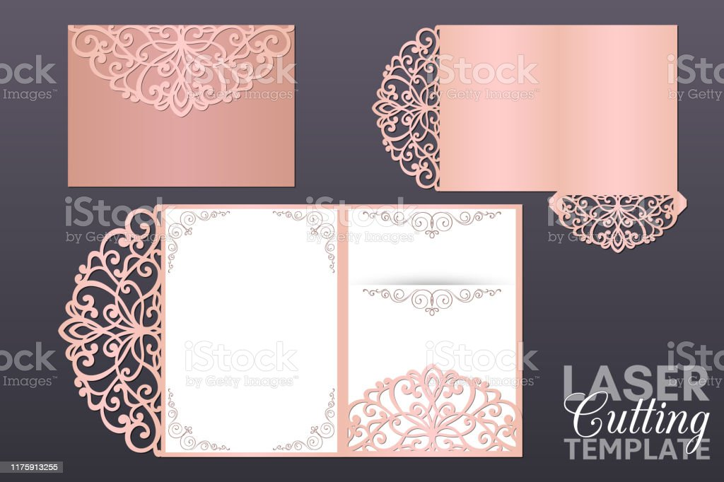 Laser Cut Wedding Invitation Tri Fold Envelope Template Vector